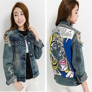 745373290a18 2018 New Fashion Boyfriend Denim Jacket Loosen Letter Printed Hip Hop Women′s  Jackets and Coats Single Breasted Casual Lady′s Jacket Female Denim Coat