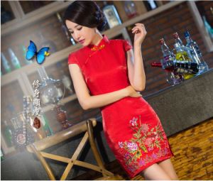 Chinese Wedding Dress.Chinese Fashion Silk Red Short Wedding Dresses Cheongsam Dress