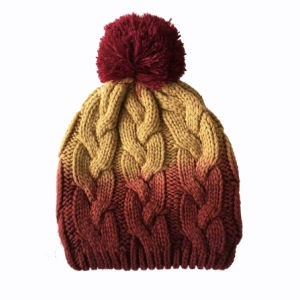 5b844087 China Unisex Knitted Cable Print DIP Dye Winter Warm Hat Beanie ...