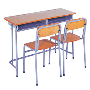 Public School Classroom Desk and Chair / Student Traditional Double Wooden  Desk