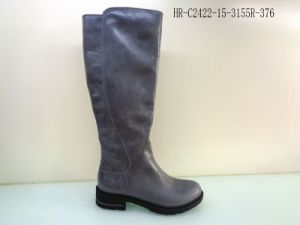 Horse Skin Knee High Leather Boot for Women pictures & photos
