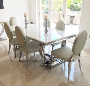 Modern 2 Meter 8 Seater Chrome Stainless Steel Base Ivory Cream Arianna Grey Solid Marble Dining