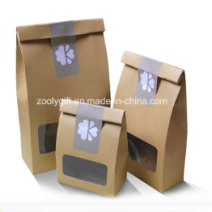 Dried Fruit Nuts Kraft Paper Packing Bag with Clear PVC Bag pictures & photos