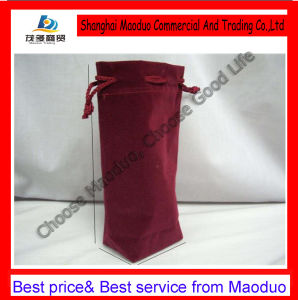 Plain Velvet Wine Bag with Drawstring Closure for Promotion (MD-AD-2049)