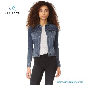 Ladies Denim Jackets with Long Sleeves and Button Placket and Cuffs pictures & photos