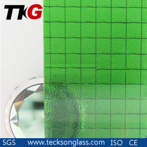 5mm Green Nashiji Wired Patterned Glass pictures & photos