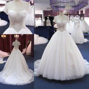 China Custom Heavy Beading Ball Gown Wedding Dress Long Train China Wedding Gown And Dress Price