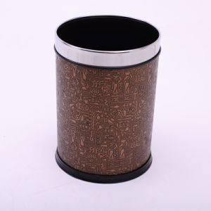 Abstract Design PU Covered Open Top Brown Waste Bin (A12-1903R)