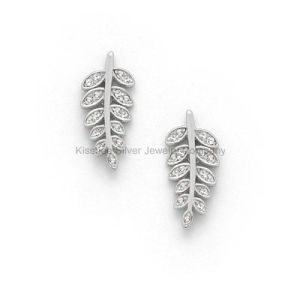 White Cubic Zirconia Leaf Earring 925 Silver Jewelry, Brass Earrings (KE3032) pictures & photos