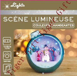 Polyresin Xmas Ball W/Luminescent Snowman and Children W/LED Light and Music