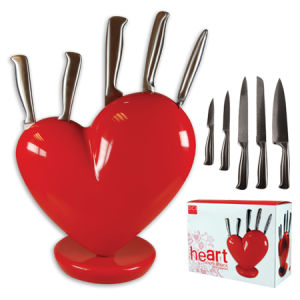 Heart Knife Block Red 5pcs Kitchen Knife Set With Block