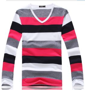 Men Fashion Casual V-Neck Stripe Mixed Color T-Shirt pictures & photos