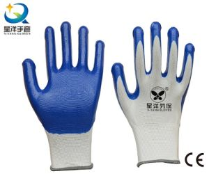13G Nitrile White Polyester Shell, Blue Nitrile Coated, Work Gloves (N7005) pictures & photos
