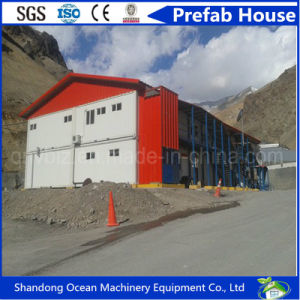Double Pitch Roof Steel Prefab House with Heat Insulated Color Steel Sandwich Panels for Mining Site as Office or Domitory or Warehouse pictures & photos