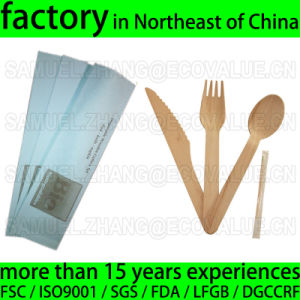 Customized Disposable Wood Cutlery Kit, Birch Knife Fork Spoon Napkin