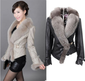 2015 New Fashion Leather Jacket with Big Faux Fox Fur Collar