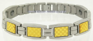 Gold Foil Stainless Steel Bracelet with Germanium (SB-823M)