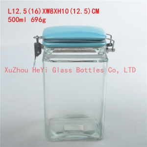China 500ml Square Glass Jar Food Storage Container Withsea Lid