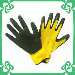 Black Yellow Coated Work Gloves for Safe Working (GS-103G)