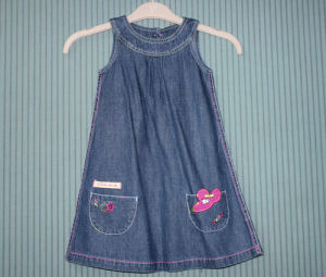 497cd055c5b China Girls Sleeveless Cotton Light Denim Dress with Embroidery (CDS ...
