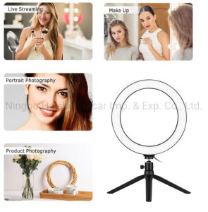 LED Round Light Dimmable Table Camera Light Lamp 3 Light Modes Extendable Tripod Stand with 360 Degree Angle Rotation Ring Light