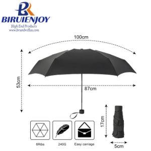 STRONG Small Black Ladies Umbrella folding compact travel Umbrella Gift boxed