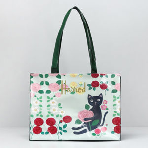 Waterproof PVC Cats Pattern Green Women Handbag (H008-15)