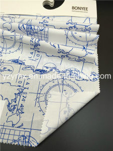 Finished Fabric 100% Cotton Poplin White Ground Printed Blue Map pictures & photos
