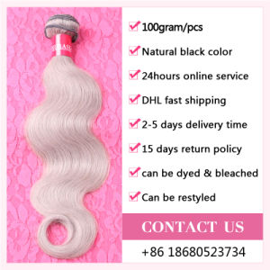 Grey Hair Weave 7A Brazilian Remy Hair Body Wave 100g/PCS Brazilian Hair Extensions Grey Human Hair Weaving Brand Hair Company pictures & photos