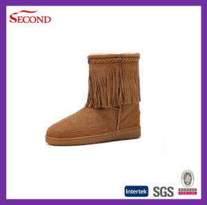 Genuine Leather Boots with Tassels