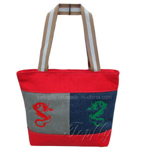 Promotional Shopping Canvas Tote Bag with Embroidery Logos pictures & photos