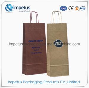 Custom Printed Gift Packaging Luxury Branded Stone Kraft Paper Wine Bags Handbags