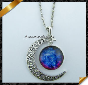 New Galactic Univers Glass Cabochon Pendant Silver Tone Crescent Moon Necklace (FN040)