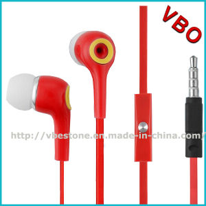 High Quality Flat Cable Earphones with Mic for Smart Mobile Phone pictures & photos