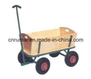 Wooden China Supplier Garden Cart Four Wheels Tool Cart pictures & photos