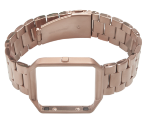 for Fitbit Blaze Band, Wearlizer Smart Watch Band with Metal Frame Stainless Steel Replacement Strap for Fitbit Blaze - Rose Gold Extra Large Size
