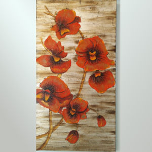 New Design Handpainted Painting Decorative Red Flower Pictures (LH-162000) pictures & photos