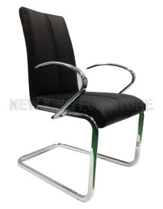 Modern Luxurious with Armrest Chrome Steel Foot PU Leather Dining Chair (NK-DC090)