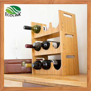 3 Layer Natural Bamboo Wine Bottle Shelf pictures & photos