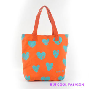 Heart Printed Canvas Bag (B14805)
