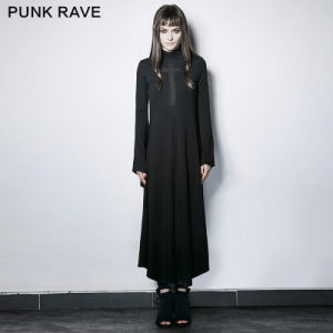 Pq-183 Gothic Dark Cross Hollow-out Trumpet Sleeves Slim Dress
