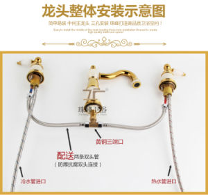 New Design Double Handle Zf-702 Jade Three-Hole Basin Mixer pictures & photos