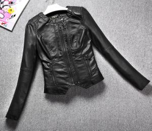 Fashion Cultivate One′s Morality Fake Leather Shorts Jacket Puj0716
