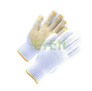 Cheap Cotton Knitting Gloves PVC Dots Manufacture in China pictures & photos