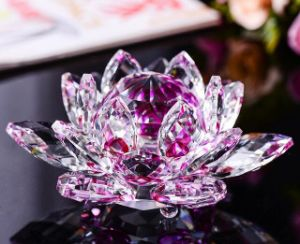 Handicraft Crystal Glass Lotus Craft for Home Decoration pictures & photos