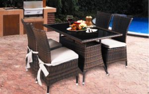 Outdoor Rattan Furniture Dining Table and Garden Patio Leisure Chair