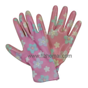 Palm Coated Nitrile Gloves Ladies Gardening Gloves Work Glove pictures & photos