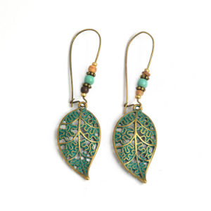 Hot Ing Boho Vintage Long Dangle Clip Earrings Drop Hollow Out Leaf Alloy Beads Crystal Fashion