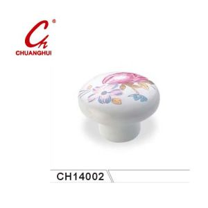 Beautiful Ceramic Knob Handles with Flower Pattern (CH14002) pictures & photos