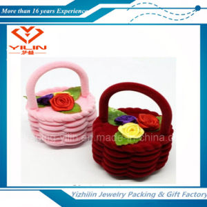 Basket Shape Design Velvet Earring Ring Jewelry Box for Gift